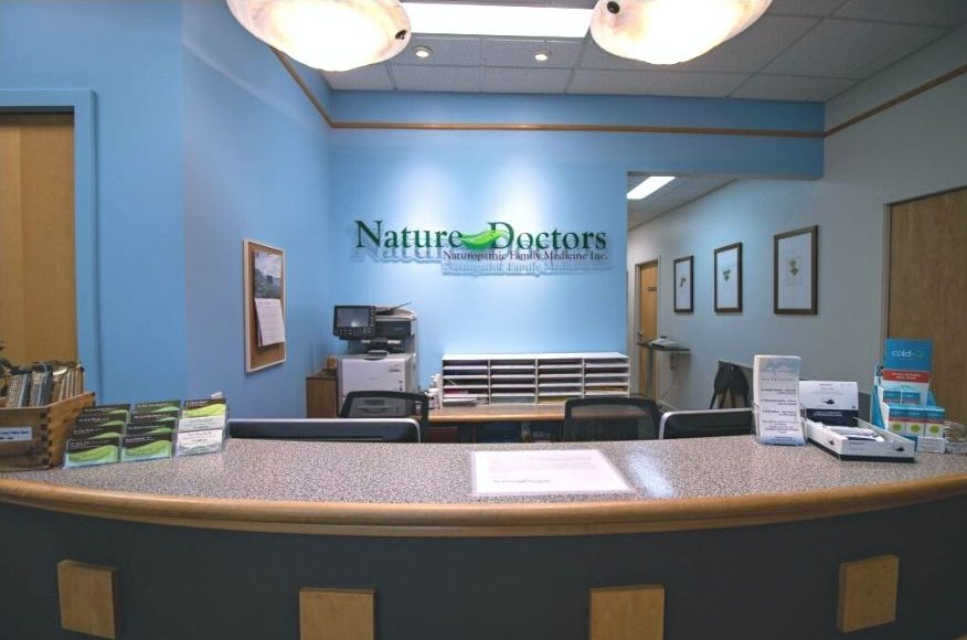 The reception area at the Nature Doctors Naturopathic Family Medicine Clinic in Winnipeg